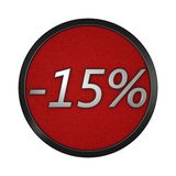 Discount icon `-15%`. Isolated graphic illustration. 3D rendering Royalty Free Stock Images