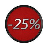 Discount icon `-25%`. Isolated graphic illustration. 3D rendering. Graphic icon isolated on white background Royalty Free Stock Photo