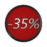 Discount icon `-35%`. Isolated graphic illustration. 3D rendering Royalty Free Stock Photos