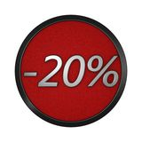 Discount icon `-20%`. Isolated graphic illustration. 3D rendering. Graphic icon isolated on white background Stock Images