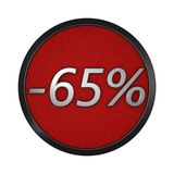 Discount icon `-65%`. Isolated graphic illustration. 3D rendering Royalty Free Stock Photography