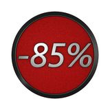 Discount icon `-85%`. Isolated graphic illustration. 3D rendering Stock Images