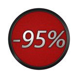 Discount icon `-95%`. Isolated graphic illustration. 3D rendering. Graphic icon isolated on white background Stock Photography
