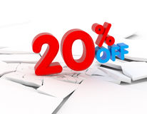 20% discount icon. 20 percent discount icon on white background Stock Photo