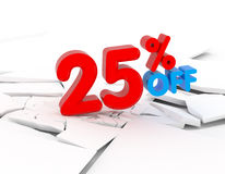 25 discount icon. 25 percent discount icon on white background Stock Photography