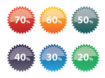 Discount icon set. Icons discount on sale of products via Internet Stock Photos