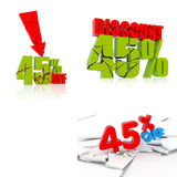 45 discount icon set Stock Image