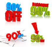 90% discount icon set. 90 percent discount icon set on white background Royalty Free Stock Images