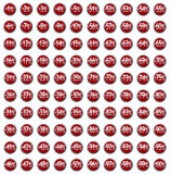 Discount Icon set red Stock Photo
