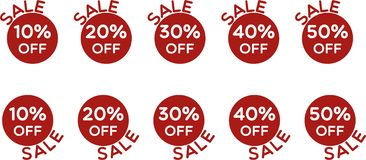 Sale price off icons set vector stock illustration