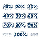 Discount icons set. Hand drawn vector isolated on white Stock Photos