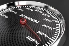 Discount. Illustration of percents of the discount on speedometer Royalty Free Stock Photography