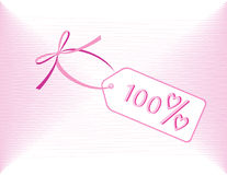 A discount label. A 100 per cent discount label with hearts Stock Images