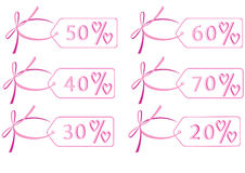 A discount label. Discount labels decorated with hearts Stock Image