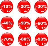 Discount label button web glass icon Stock Photos