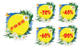 Discount label daisies Royalty Free Stock Image