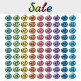Discount label set, seasonal sale Stock Images