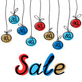 Discount label set for winter sale. Vector banner, poster Royalty Free Stock Images