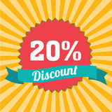 20% discount. Label on special yellow lines background royalty free illustration