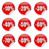 Discount label and sticker. Red Discount label and sticker stock illustration