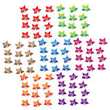 Discount label stickers set. Star shaped discount label set in various color gradients with text (total sale Stock Photography