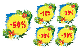 Discount label tropical Stock Photography