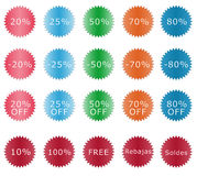 Discount labels. Colorful labels with some discounts Royalty Free Stock Photo