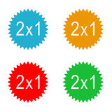 Discount labels. Colorful discount labels 2x1 in colors blue, orange, red and green Royalty Free Stock Image