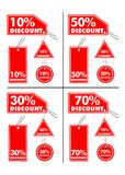 Discount labels. Vector illustrations of Discount labels (10%, 30%, 50% and 70 Stock Photo