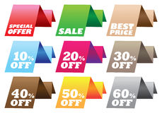 Discount labels. Paper stand discount labels with different messages. Vector illustration Royalty Free Stock Image