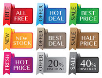 Discount labels. Paper stand discount labels with different messages. Vector illustration Stock Images