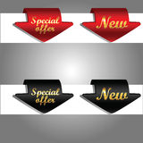Discount labels bent around paper edge. Royalty Free Stock Photo