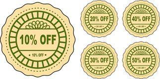 Discount labels. Five detailed discount labels. Off labels Stock Image
