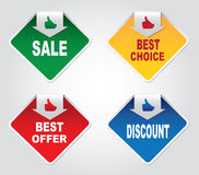 Discount labels. On a gray background Royalty Free Stock Photos