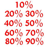Discount labels/signs/icons. Simple discount labels from 10% up to 90 Royalty Free Stock Images