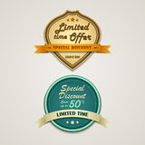 Discount labels vintage retro design style Royalty Free Stock Images