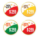 Discount labels. On a white background Stock Photos