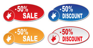 Discount labels. On a white background Stock Image
