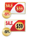 Discount labels. On a white background Stock Photography