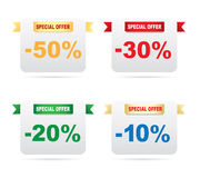 Discount labels. On a white background Royalty Free Stock Photos