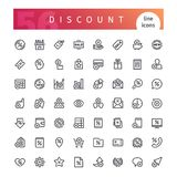 Discount Line Icons Set. Set of 56 discount line icons suitable for web, infographics and apps. Isolated on white background. Clipping paths included Stock Illustration