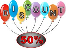 Discount balls. Discount logo with cheerful balloon Stock Photo