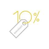 10 % discount logo. Typographic symbol for 10 % discount tag that can be used for logo or as isolated graphic element vector illustration