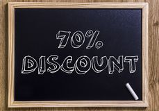 70% discount. New chalkboard with 3D outlined text - on wood Stock Photography