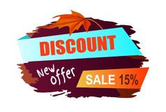 Discount New Offer Sale 15 Vector Illustration. Discount new offer sale 15 , promotional poster with title sample on ribbons, icon of brown maple leaf on vector stock illustration