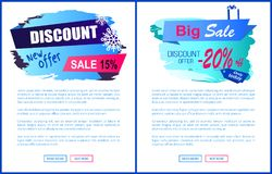 Discount New Offer -15 Sale Winter Label Snowball. Discount new offer -15 -20 sale winter labels with snowflakes on abstract blue background isolated on white Royalty Free Stock Photography