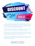 Discount New Offer -15 Sale Winter Label Snowball. Discount new offer -15 sale winter label with snowballs snowflakes on abstract blue background isolated on Stock Images