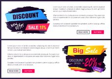 Discount New Offer Only Today 15- 20 Black Friday. Discount new offer only today 15 - 20 off Black Friday ad labels on online banners, business promotional web stock illustration