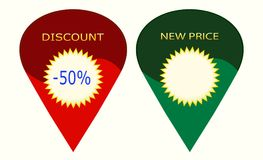 Discount - New - Price - 1V19. Sign-indicator for discounts and new prices. The figure resembles an inverted drop and has two color variants. This image can be royalty free illustration