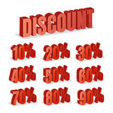 Discount Numbers 3d Vector. Red Sale Percentage Icon Set In 3D Style Isolated On White Background. Stock Photo